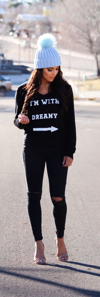 WOMEN'S BASIC FASHION: My husband loves this sweatshirt. I'm with Dreamy black sweater with black ripped jeans and nude stilettos and a light baby blue fur pom pom beanie. this casual comfy outfit would be cute for a date night : going out to dinner then a movie. All black. Jumper ;) model @sarahnelizabeth