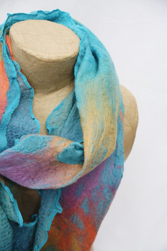 Nuno felted silk scarf Lagoon and sunkissed by Sarsenet on Etsy