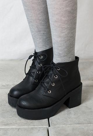 90s lace up grunge punk rock platform ankle boots style2