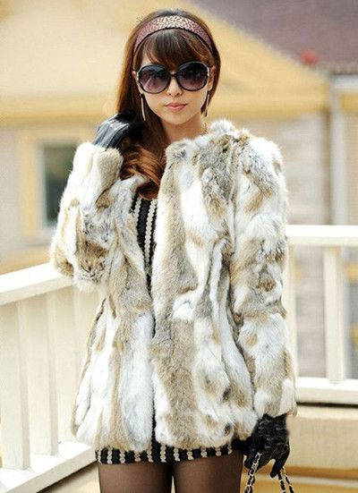 QUEENFUR 2016 New Real Rabbit Fur Jacket For Women Natural Rabbit Fur Coat Lady Winter Genuine Rabbit Fur Outwear Hot Sale