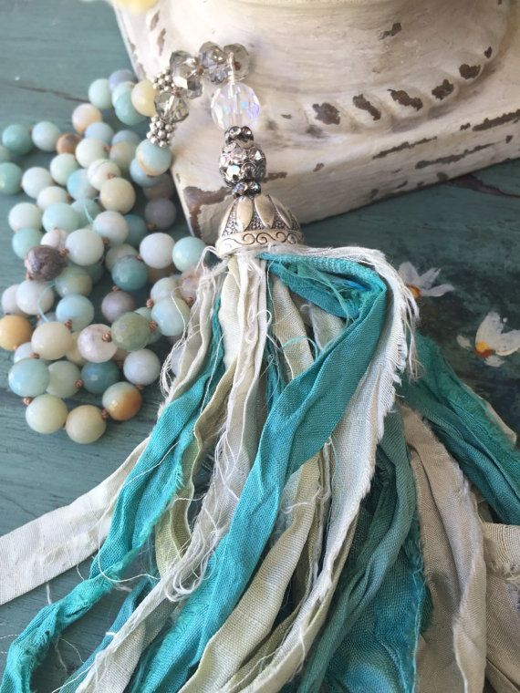 Beachy boho glam sari seda azul aqua de por MarleeLovesRoxy en Etsy