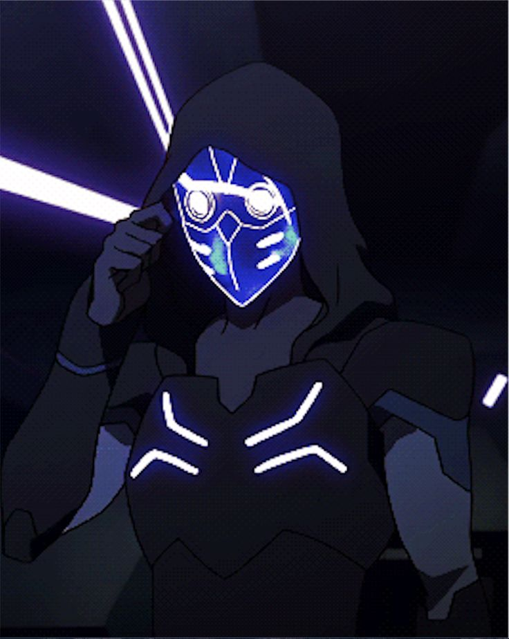 Keith in his Blade of Marmora uniform suit armor before his mask disappears from Voltron Legendary Defender