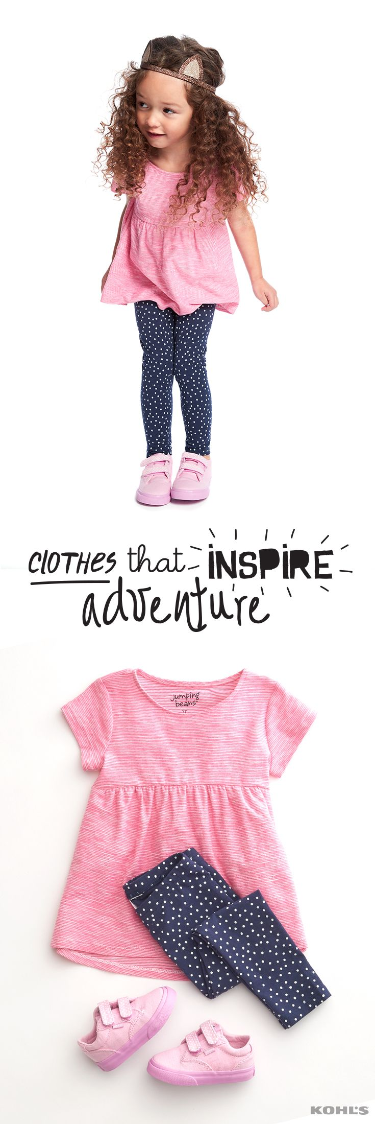 Whether she's a dinosaur-discovering scientist or a fairy princess, she doesn't have to worry about her play clothes keeping up with her active imagination. (And with $8 tops and bottoms for girls 4-6x, you don't have to worry about breaking the bank.) Get easy to pair, easy to wear Jumping Beans clothes for kids at Kohl's.