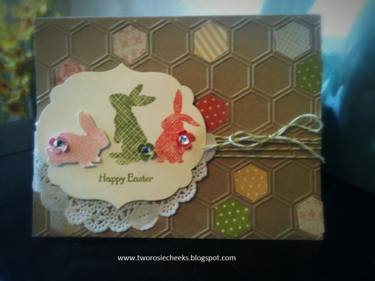 Easter BunniesCards Stamps, Cards Ideas, Cards Scrapbook, Easter Cards, Easter Spr Cards, Easter Bunnies, Bunnies Honeycombs, Cards Easter, Easter Bunny
