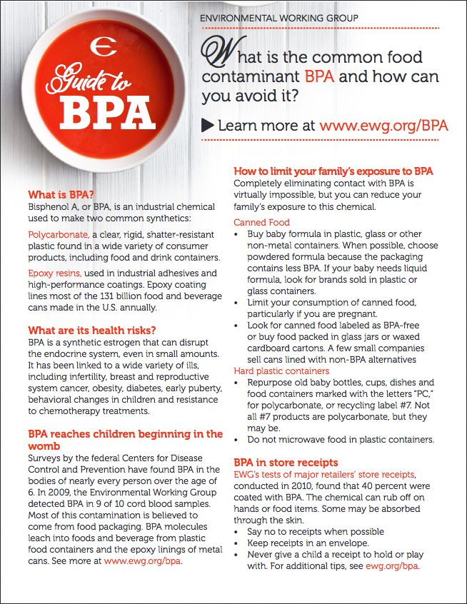 EWG's Guide to BPA - Printable PDF. What is the common food contaminant BPA and how can you avoid it? Check out the Environmental Working Group's tip sheet on this toxic plastics chemical.