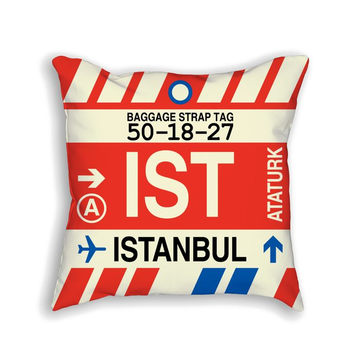 IST Istanbul Airport Code Baggage Tag Pillow