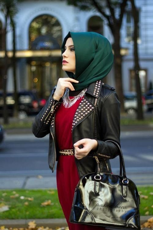 Unmatchy matchy hijabi! #hijab #red #green #leatherjacket #studs
