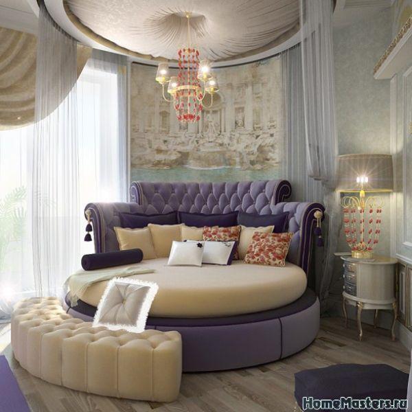 Круглая кровать с фиолетовым оттенком | Дизайн интерьера спальни | Фотогалерея ремонта и дизайна | Школа ремонта. Ремонт своими руками