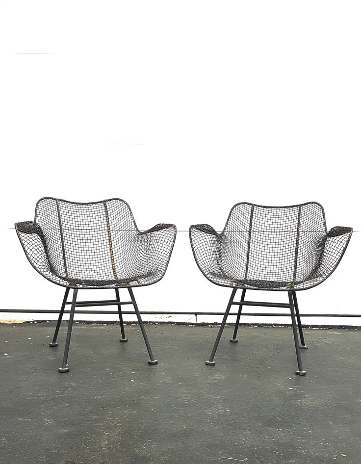 Mid Century Metal Chairs ~ Pair Of Vintage Russell Woodard Sculptura Chairs    Vintage Mid Century Modern Black Wire Mesh Patio Arm Chairs