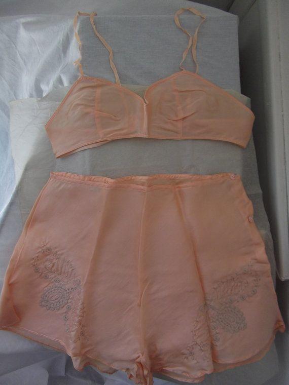 1920s lingerie / 20s silk bra and panties by ResurrectingVintage, $150.00