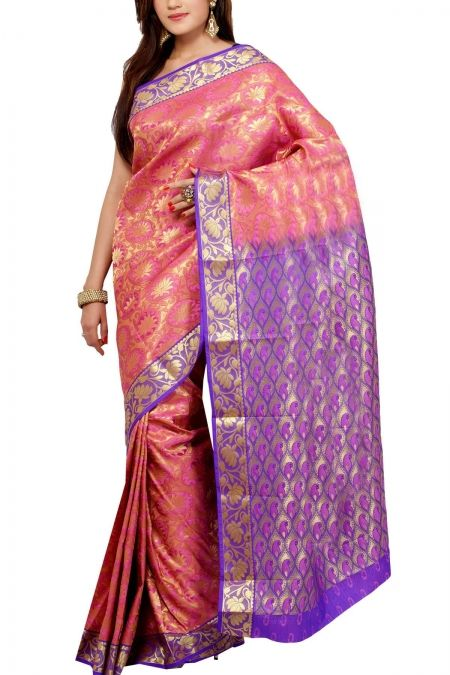 Pink Lavender Lotus Brocade Art Silk Saree