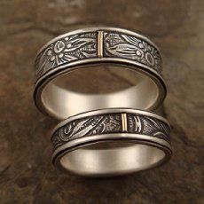 Amazon.com: Wedding Band Set - Inside and Outside Cherry Blossom Pattern rings in Sterling Silver and 14k Rose Gold: Handmade