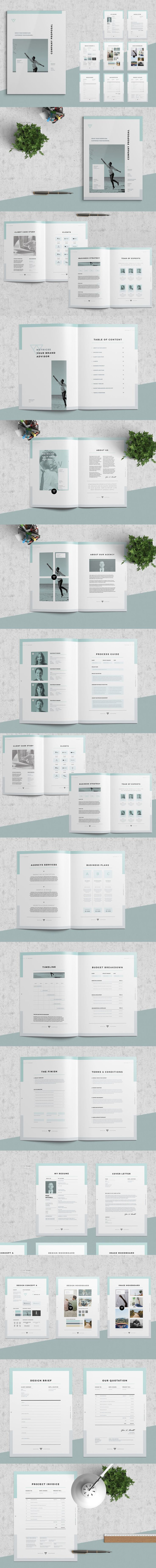 Clean and Professional Proposal / Resume / Covering Letter / Brief / Quotation / Invoice Templates InDesign INDD