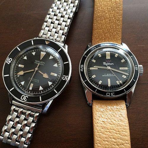 American Divers! #gruen #vintagegruen #vintagediver #waltham #vintagewaltham #bathyscaphe #walthambathyscaphe #divewatch | Flickr - Photo Sharing!