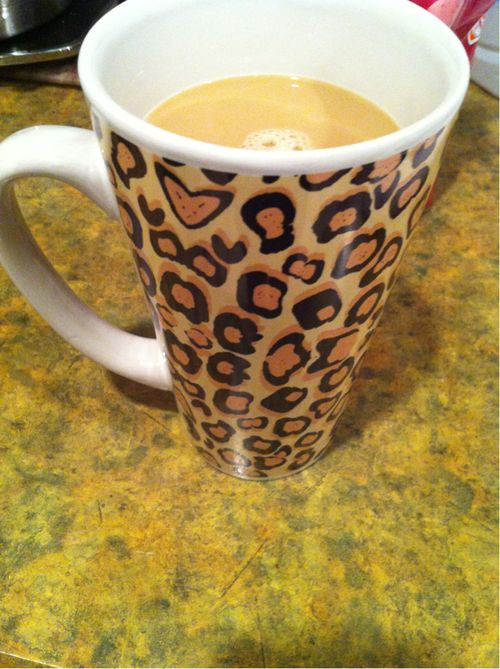 Leopard print mug.