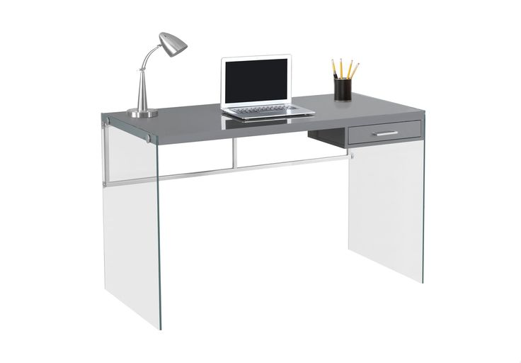 "COMPUTER DESK - 48""L / GLOSSY GREY / TEMPERED GLASS"