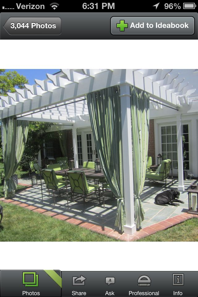 Pergola with curtains, a must for our next home.