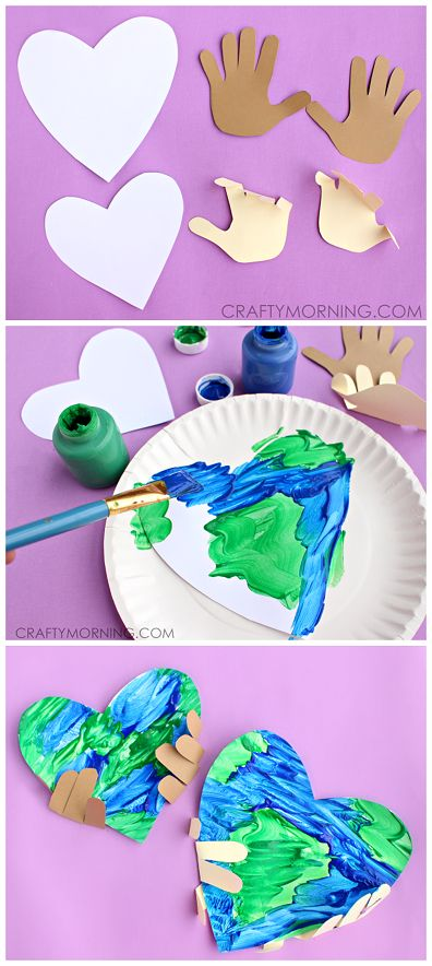 Handprint Earth Day Craft for kids to make by craftymorning #Kids #Crafts #Earth_Day