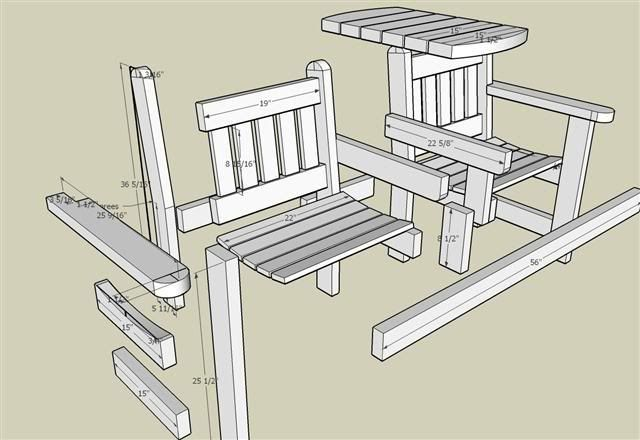 Tuinbankje met een tafel tussen de zitplaatsen.