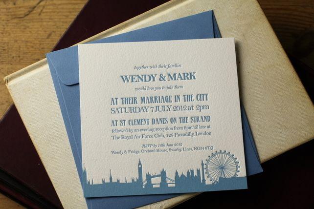 London themed Letterpress Wedding Invitations X 50 with Envelopes £230.00