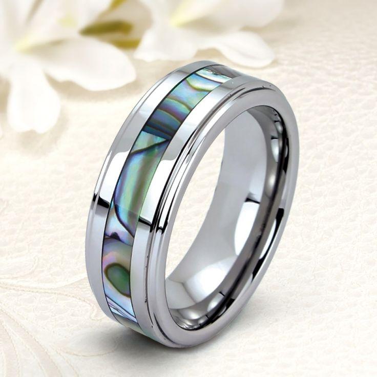 Különleges gyöngyház fényű kagylóbetétes tungsten karikagyűrű