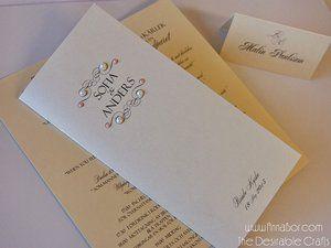 Skimmer Bröllopsprogram med Pärlor (i 16 valfria färger). Unik format 21x10cm  21 sek/ st