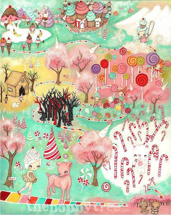 Candy Land Print Cute Cupcake Girl Forest Animal Wall Art Children Candyland Large Print 11 X 14 Art Wall Kids Animal Wall Art Poppy Art