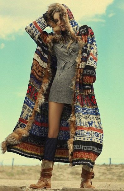jacket cardigan hoodie coat colorful patterns fur longcoat boho winter boho bohemian hippie gypsy winter outfits winter coat hippy chic long coat tribal pattern