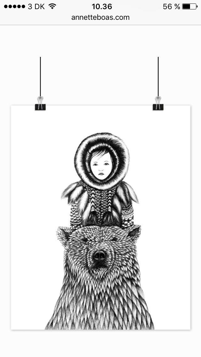 Art, drawing, Animal, design, tusch, ink, inuit, eskimo, bear