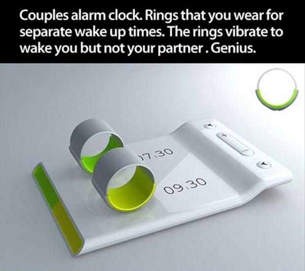 a couple alarm clock rings, smart ideas I SO WANT THIS WOULD SOLVE ALL PROBLEMS WITH A NEW BABY OR FOR A LIGHT SLEEPING CHILD