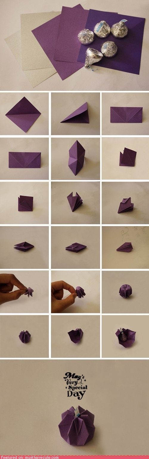 Wrap it: Paper origami chocolate kiss gift wrap idea