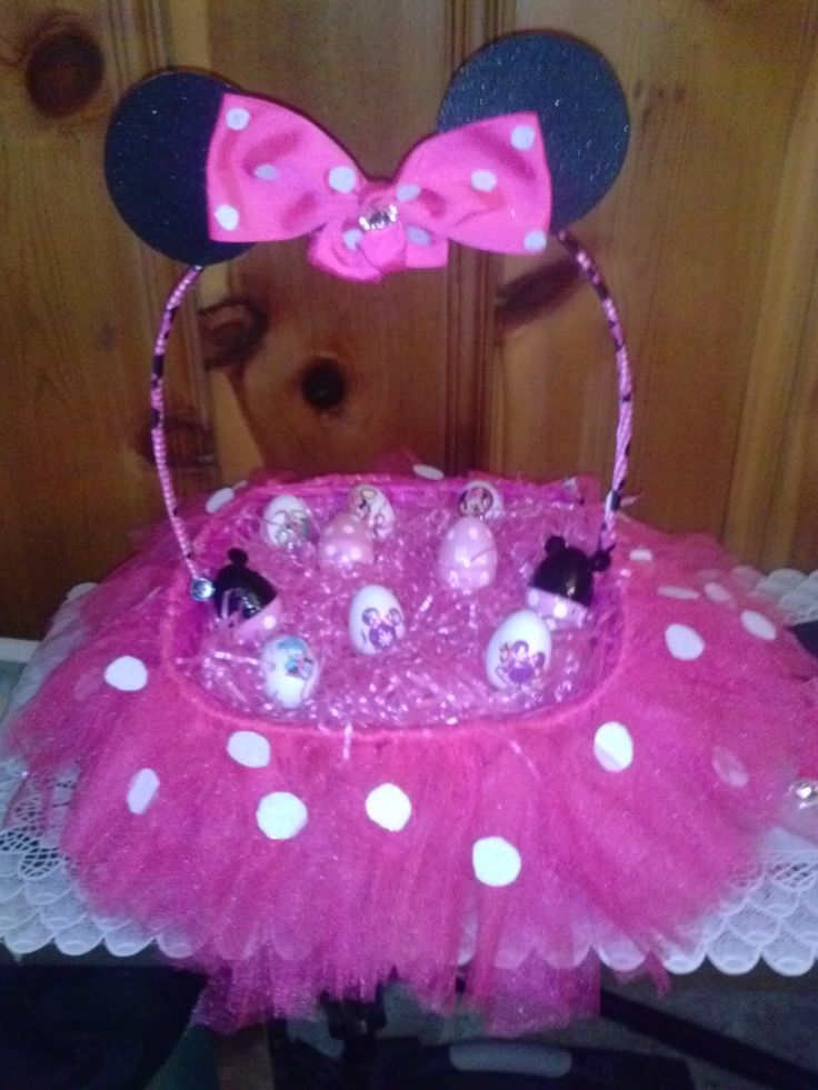 Minnie Tutu Easter Basket With Minnie Mouse Easter Eggs