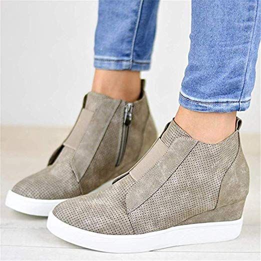 bf1062eb7fbf6 Amazon.com: Women's Fashion Platform Sneaker Casual Wedges Zipper ...