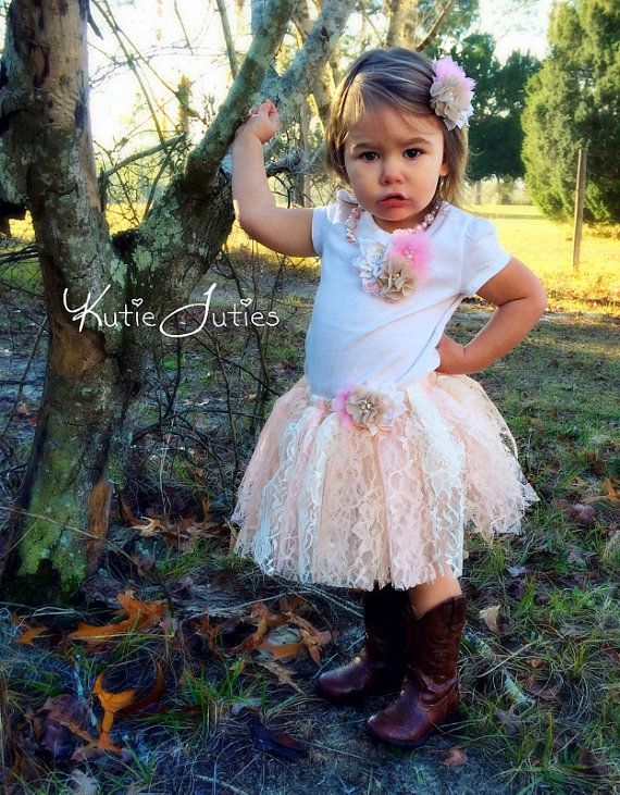 Vintage Lace Shabby Chic Tutu Skirt, Shirt, Headband, Bloomers & Necklace- Pink, Ivory, Beige, Cowgirl, Western, Birthday, Cake Smash, Flower Girl