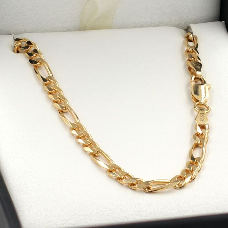 55cm Yellow Gold Figaro Chain Necklace - GN-BFD103