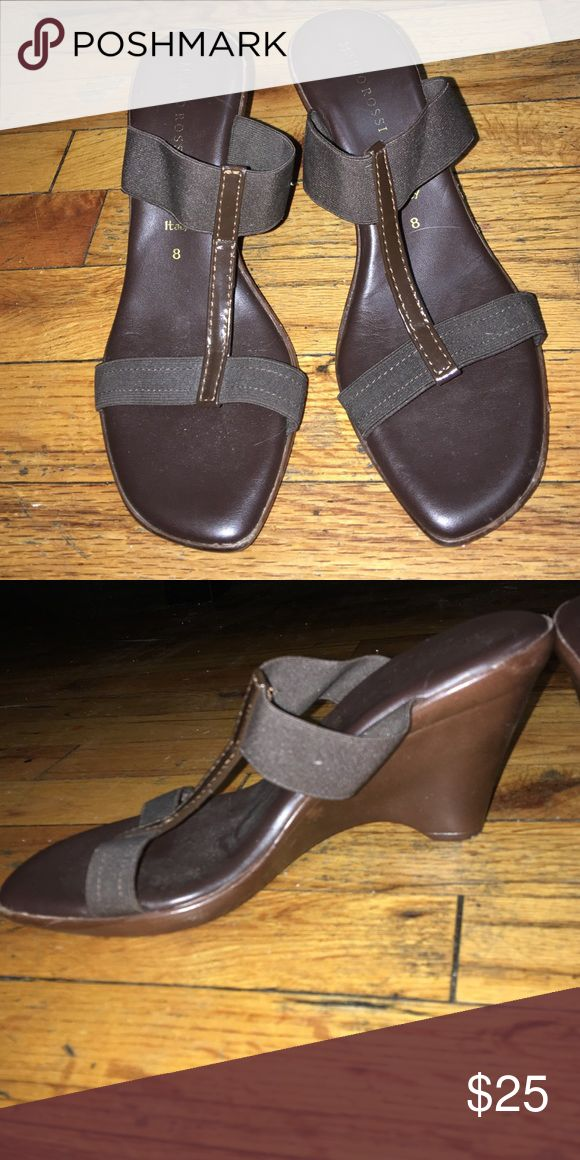 Marco Rossi slip on wedge Chocolate brown size 8 elastic band wedge shoe. Plush feeling , comfortable. Worn once Shoes Wedges