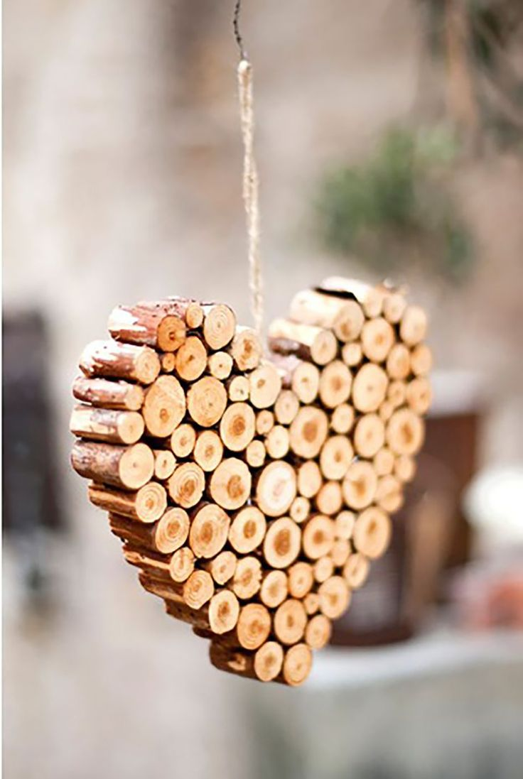 Cut pieces of wood used to create a heart decoration