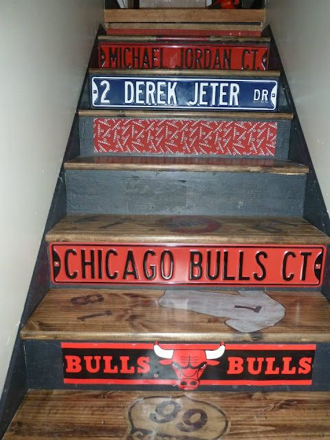 Another great staircase idea, this one for the sports fan,perhaps the stairs to the mancave