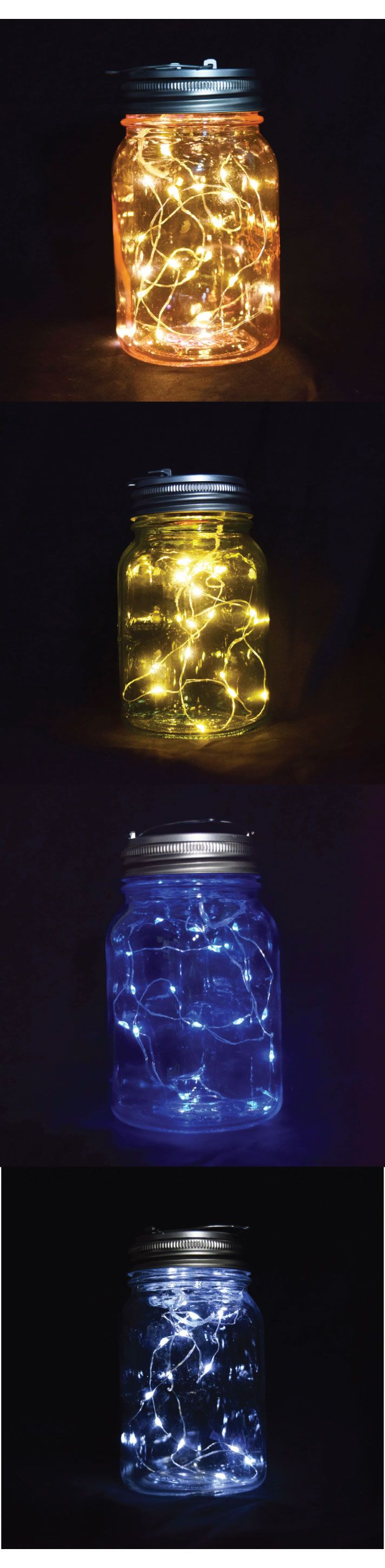 mason jar lights kit! great for weddings. These can be your table-top centerpiece or your hanging decoration. Several colors to choose from. #masonjar #weddings #lights
