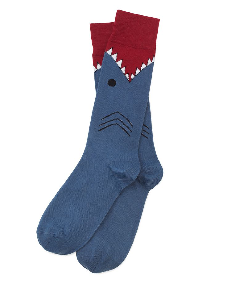 "Shark Socks -- he loves all things shark so i had to get this for him! ""After all, business casual bites... so why not bite back?!"""