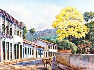 ANTÔNIO ORLEANS E BRAGANÇA - Rua em Tiradentes Aquarela - 46x61 OBRAS DE CADA DIA: Antônio Orleans e Bragança