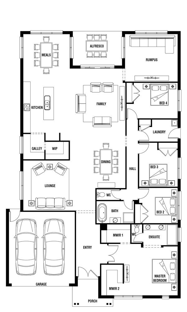 Yarra 4 Bedroom Single Storey House Plan Porter Davis Single Storey House Plans House Plans New Home Designs