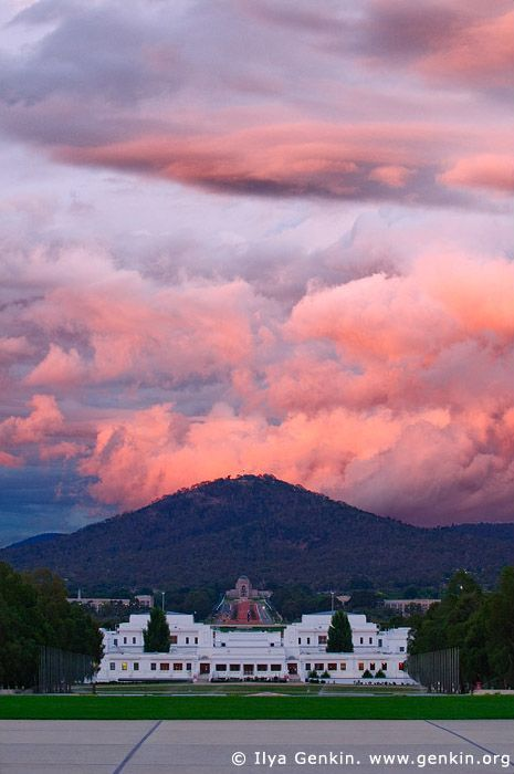 Old Parliament House, Federation Mall, and Mount Ainslie at Sunset, Canberra, ACT, Australia