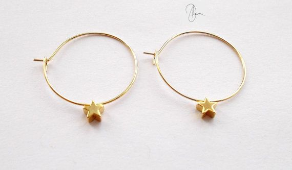 Small Gold Star Hoop Earrings Tiny Gold Plated by DharaJewellery