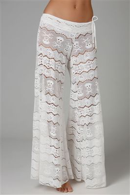 skull & crossbones lace pants