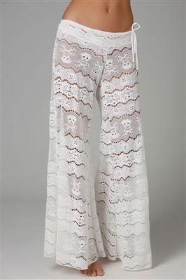 Lace skull pants