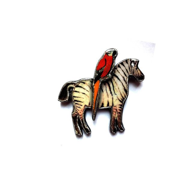 Quirky Whimsical Zebra & Parrot Brooch by EllyMental £13.00