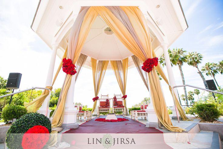 Beautiful mandap in the gazebo in the Newport Beach Marriott Hotel and Spa's Rose Garden Venue  #LinandJirsa, #ShaadiShop