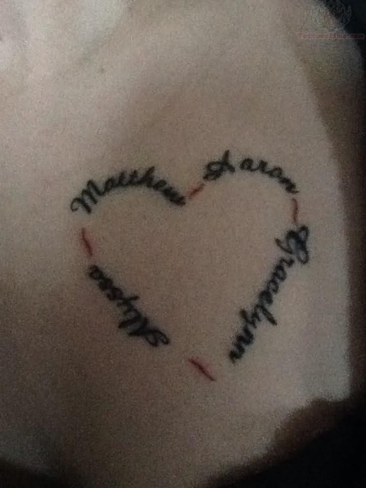 Heart Tattoos with Names | Heart Tattoos Pictures and Images