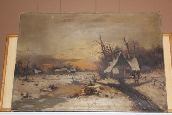 Antique Minnesota Folk Art Painting Winter Scene 1890 Oil On Canvas 23 x 16